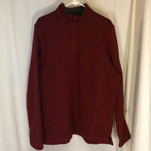 Woolrich XL Angler 1/4 ZIP Fleece Sweater Red Men